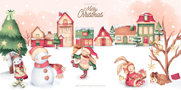 Cute christmas scene with winter town and characters Vector.