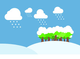 Winter day with snow field illustration Clipart and Stock.