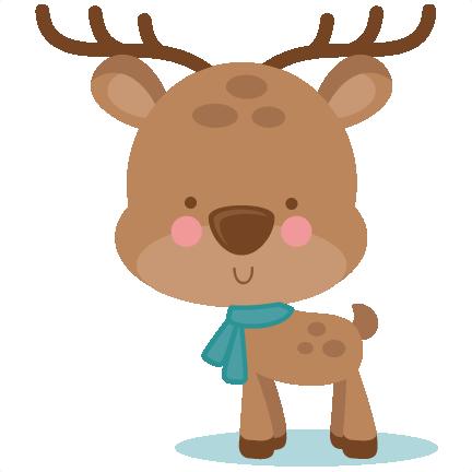 Girl Winter Deer SVG scrapbook cut file cute clipart files for.