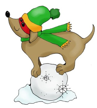 Clip Art: Winter Snow Dachshund Dogs by HeatherSArtwork.