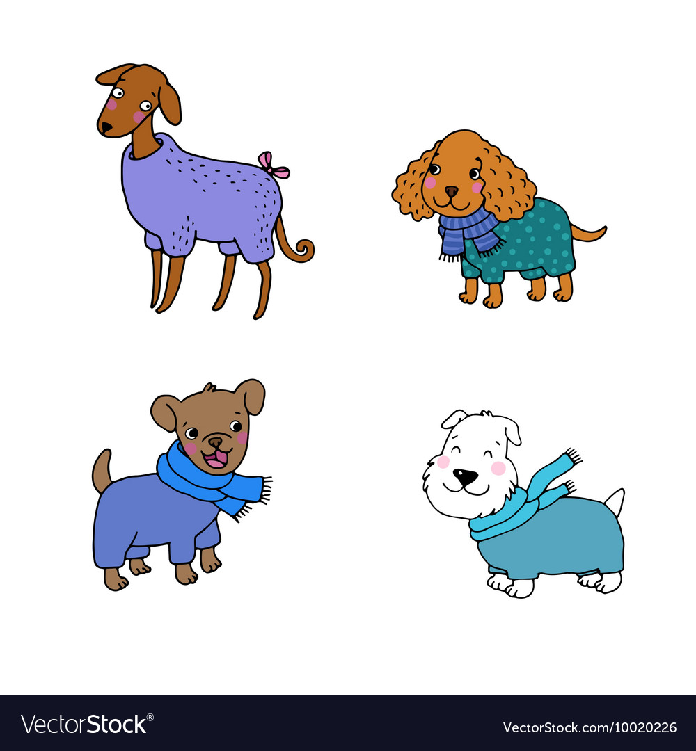Cute cartoon dogs in winter clothes.