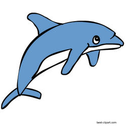 Free Cartoon dolphin clipart with transparent background.