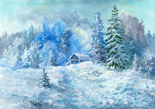Background Of Winter Dream Snow Trees Clip Art, Vector Images.