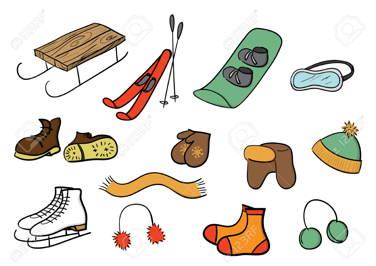 Winter Clothes And Sports Set. Royalty Free Cliparts, Vectors, And.