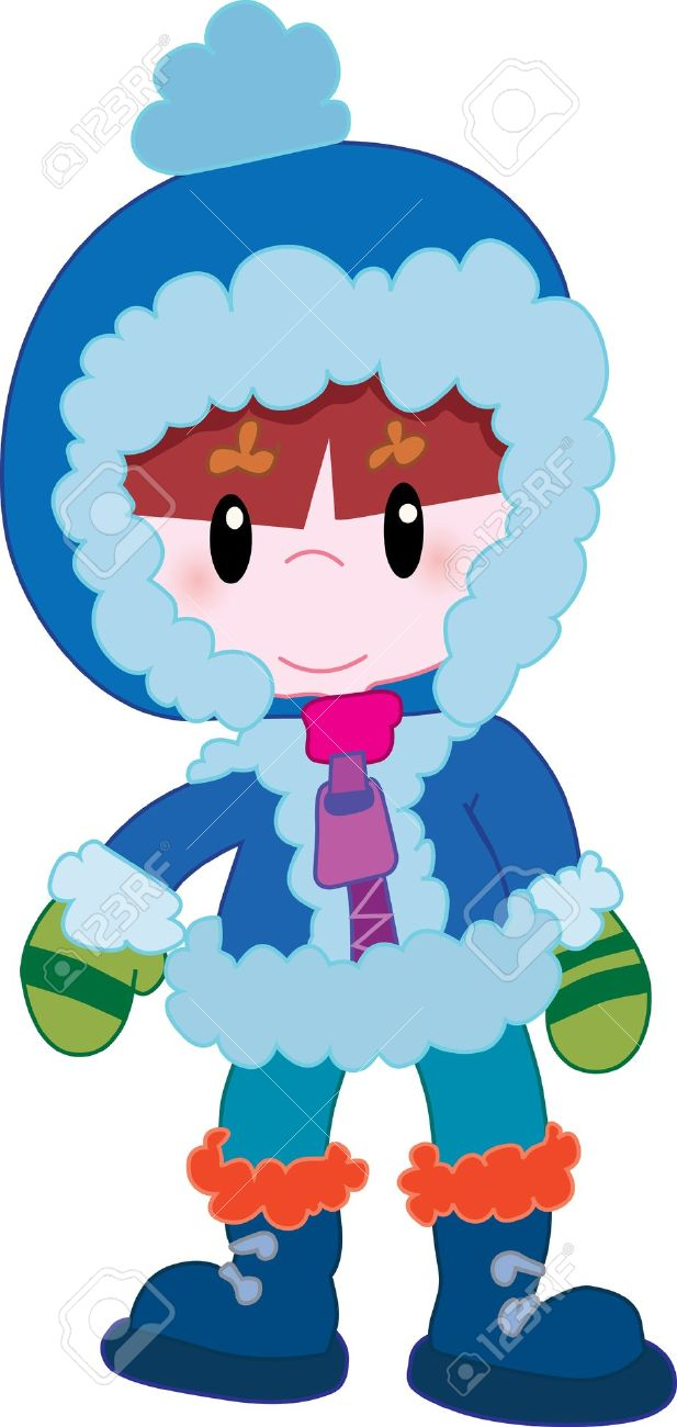 Little boy with winter clothes clipart.