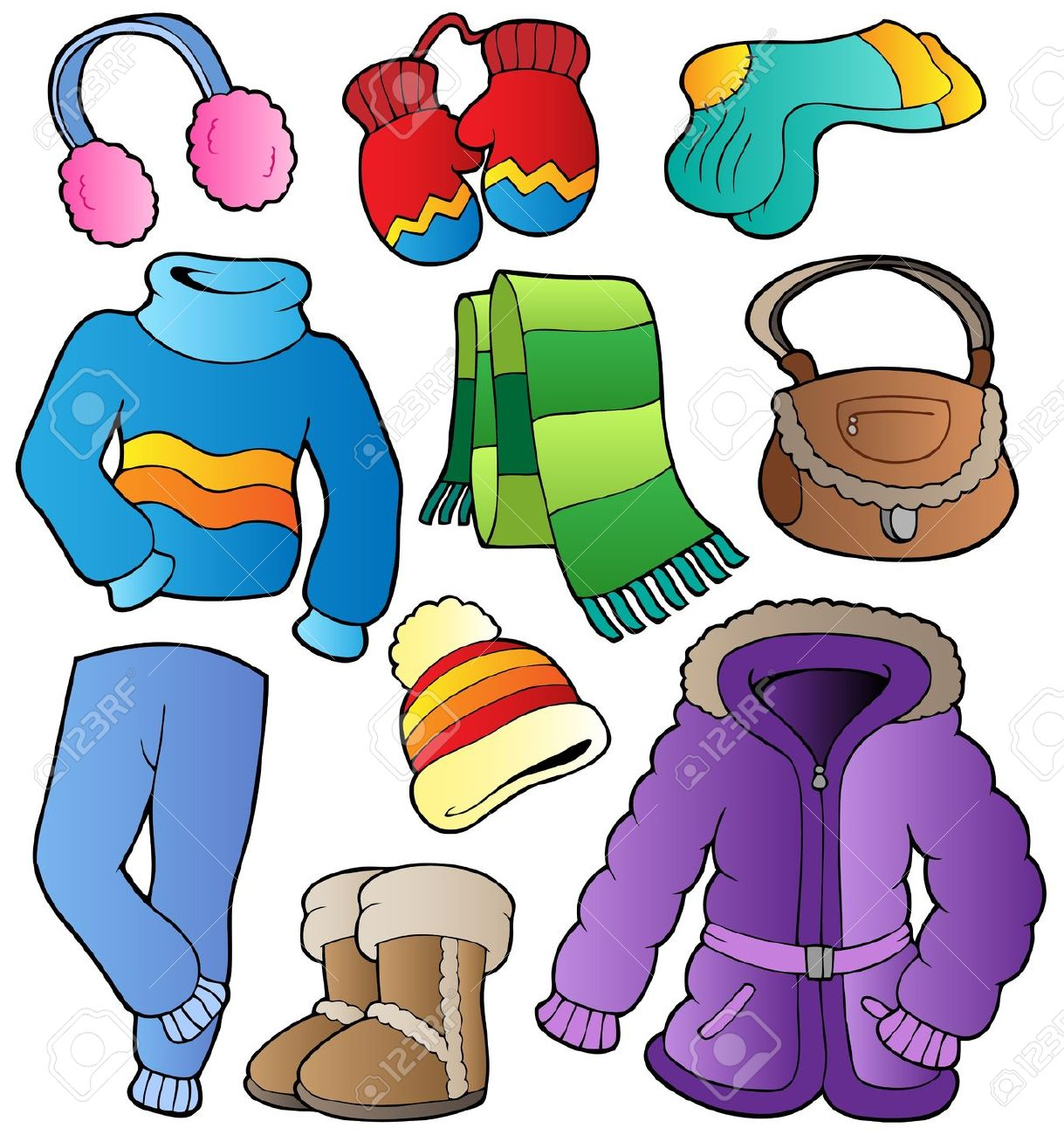 Kids winter clothes clipart.