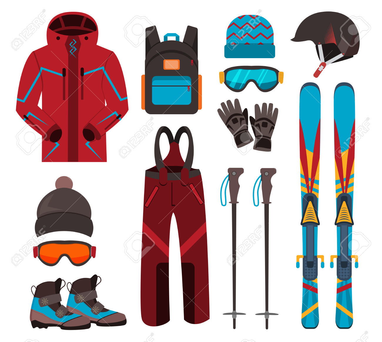 Skiing Equipment Vector Icons. Set Skis And Ski Poles. Winter.