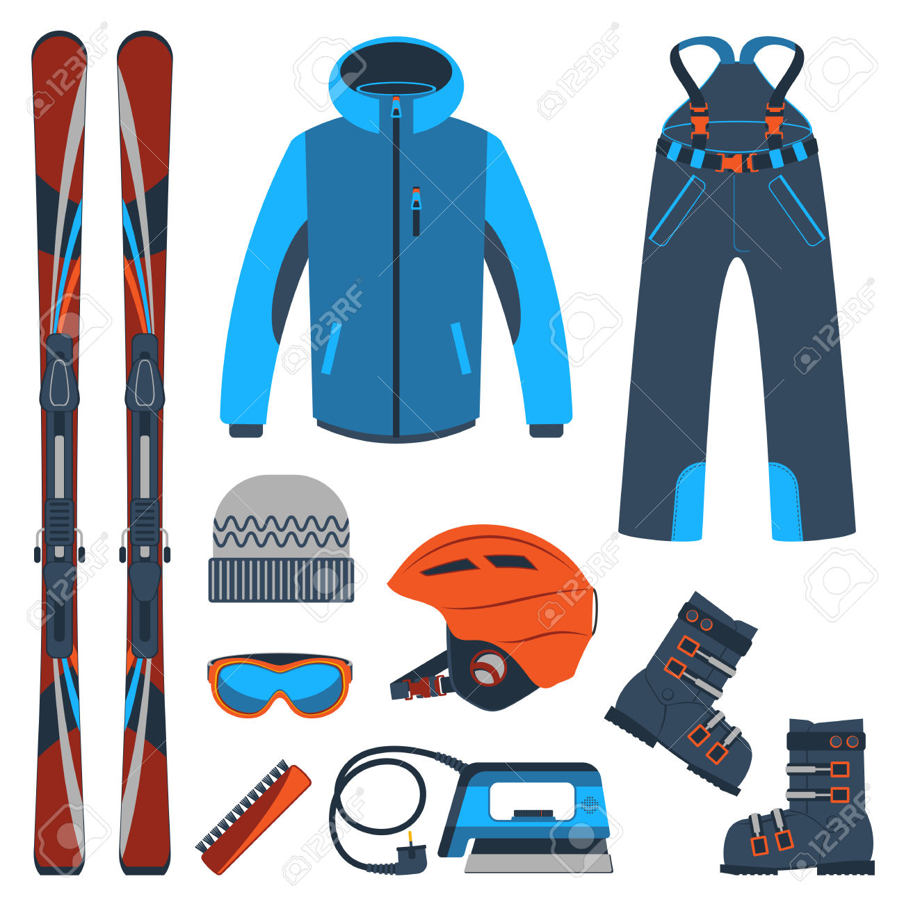 Ski Equipment Or Ski Kit. Extreme Winter Sports. Ski, Goggles.