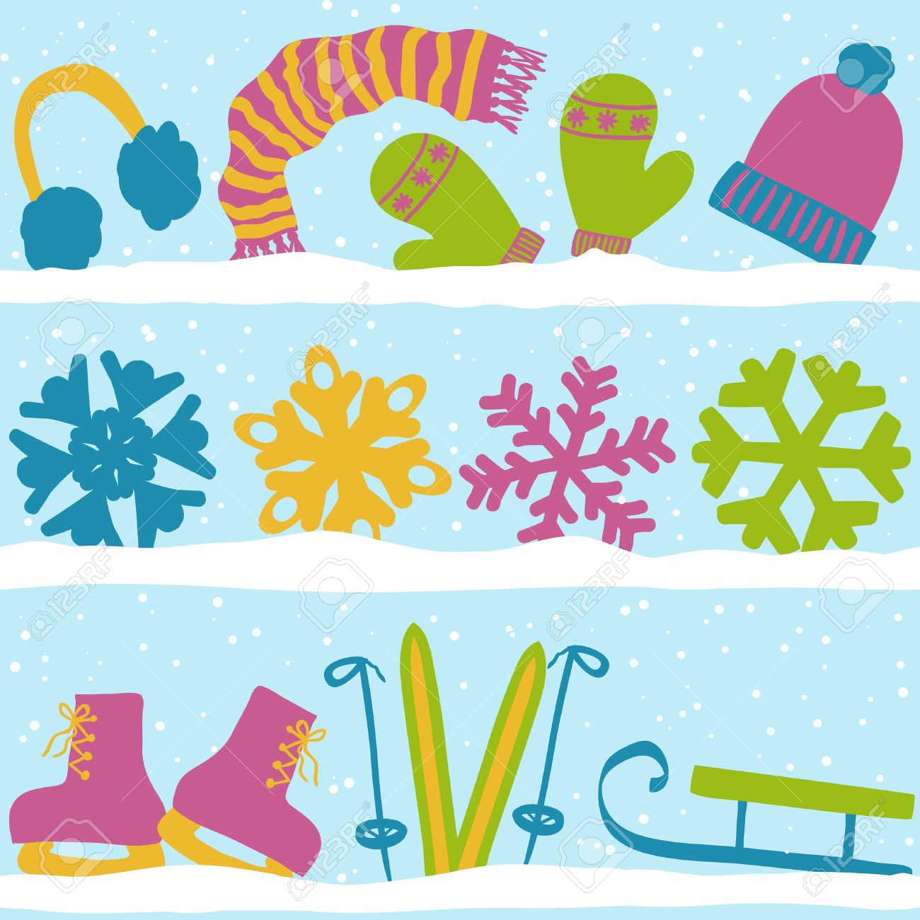 Christmas Winter Seamless Pattern, Clothes, Snowflakes And Sport.