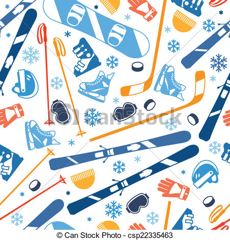 Clip Art Vector of Winter sports seamless pattern with equipment.