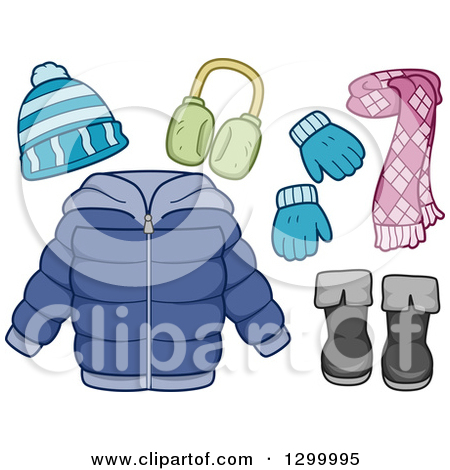 Clipart of a Winter Coat, Scarf, Boots, Mittens, Hat and Earmuffs.