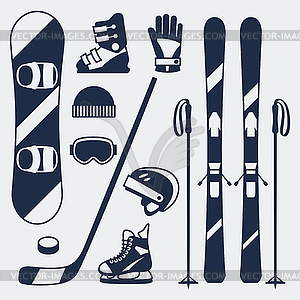 sports equipment icons set in flat design.