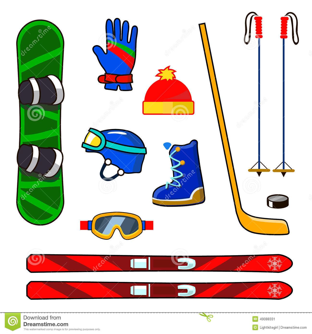 Winter Sports Equipment Icons Set Stock Vector.