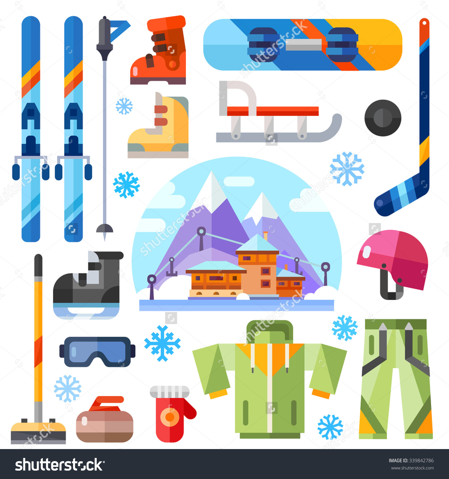 Winter Sports Equipment Set Ski Skates Stock Vector 339842786.