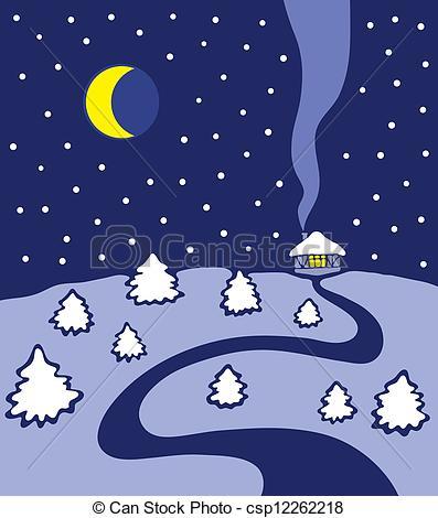 Vector Clip Art of Winter night.