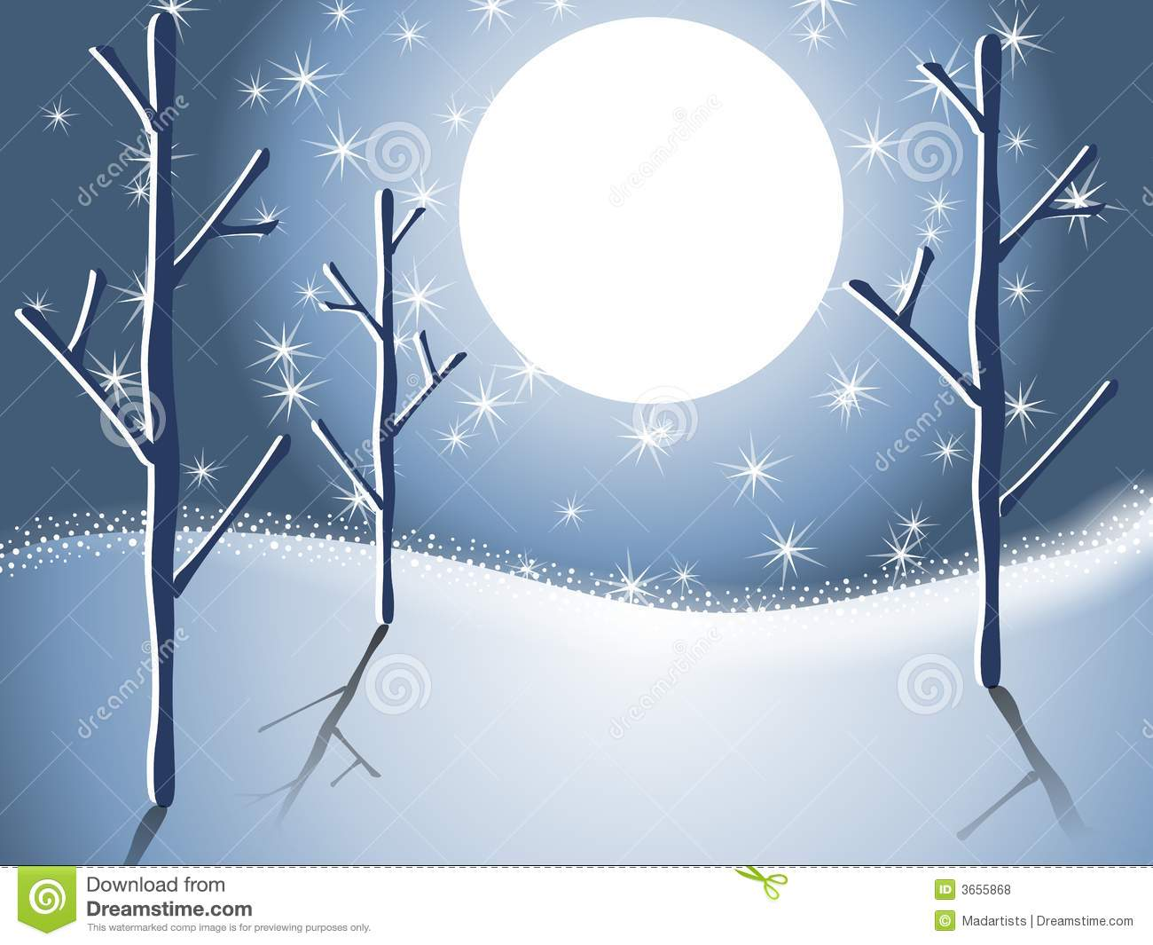 Winter Snow Trees Night Scene 2 Royalty Free Stock Photos.