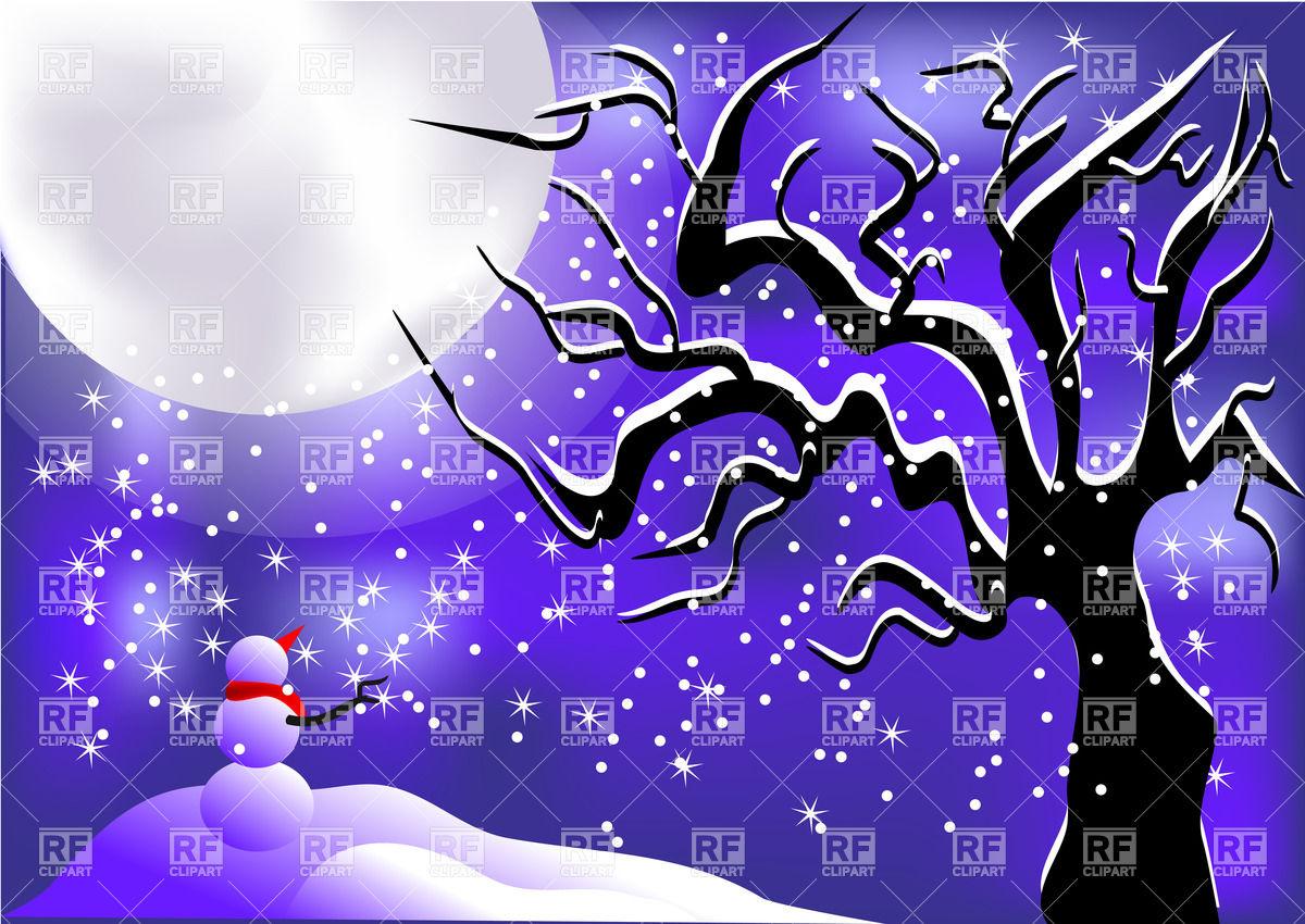 Winter night background Vector Image #25347.