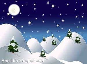 Winter night scenes clipart.