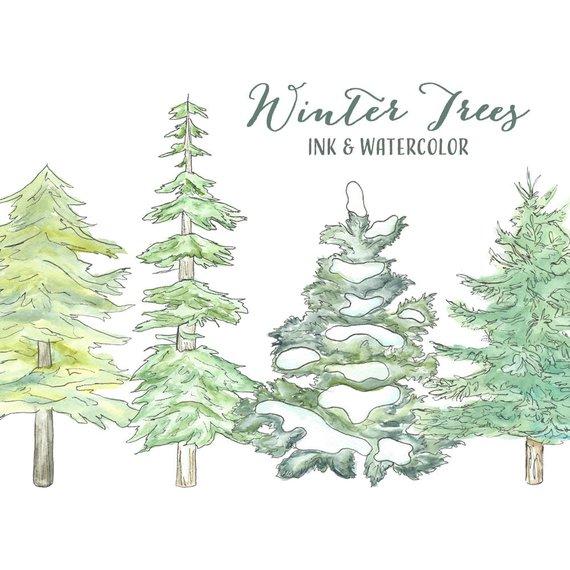 Christmas Tree Clipart // Evergreen Tree Pine Tree.