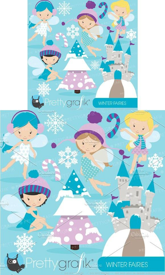 Winter fairies clipart commercial #clipart #vector.