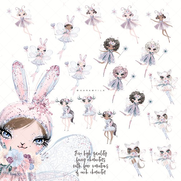 $5 SALE! Winter Fairy Clipart.
