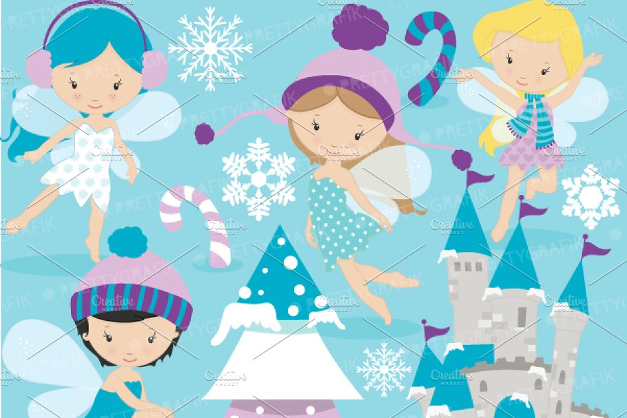 Winter fairies clipart commercial.
