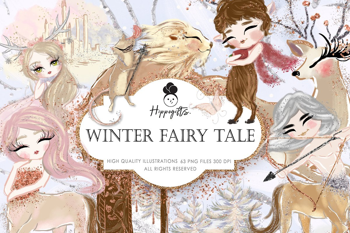 Winter Fairy Tale Clipart,Christmas ~ Graphics ~ Creative Market.