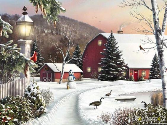 Winter farm scenes clipart.