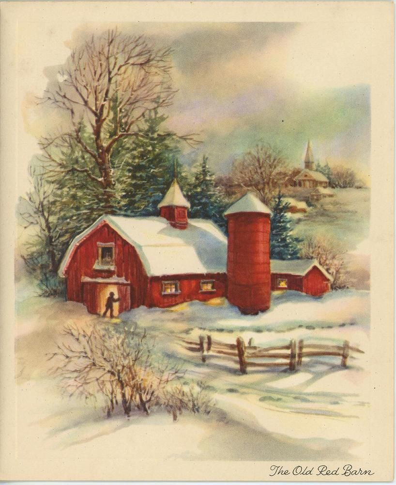 Vintage snow winter golden glow red barn trees church farm.