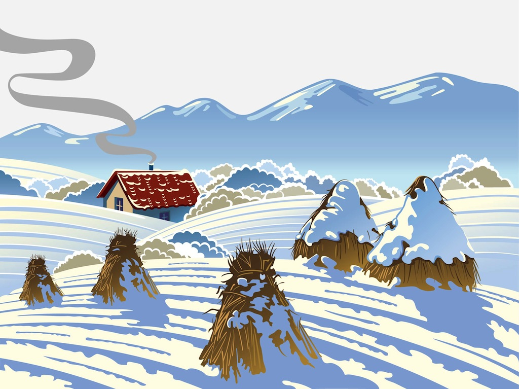 Winter farm scenes clipart.