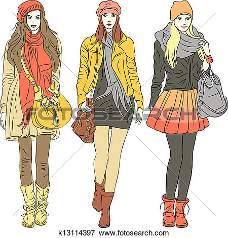 Clipart of Vector fashion stylish guy and girl in warm clothes.
