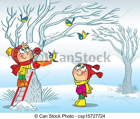 EPS Vector of Boy and girl feed birds.