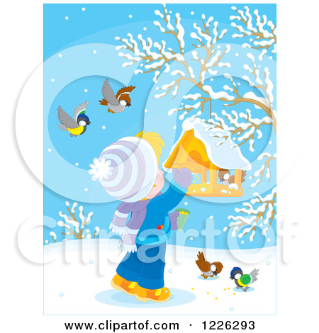 Clipart of a Happy Boy Feeding Birds in the Winter.