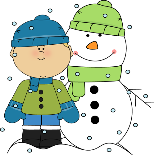 Boy and Snowman in the Snow Clip Art.