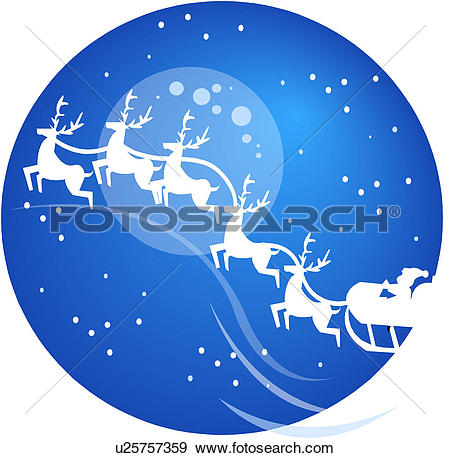 Clip Art of sleigh, festival, sled, winter, christmas, santa.