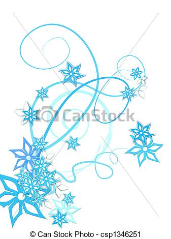 Clipart of Winter flowers decoration on white csp1346251.