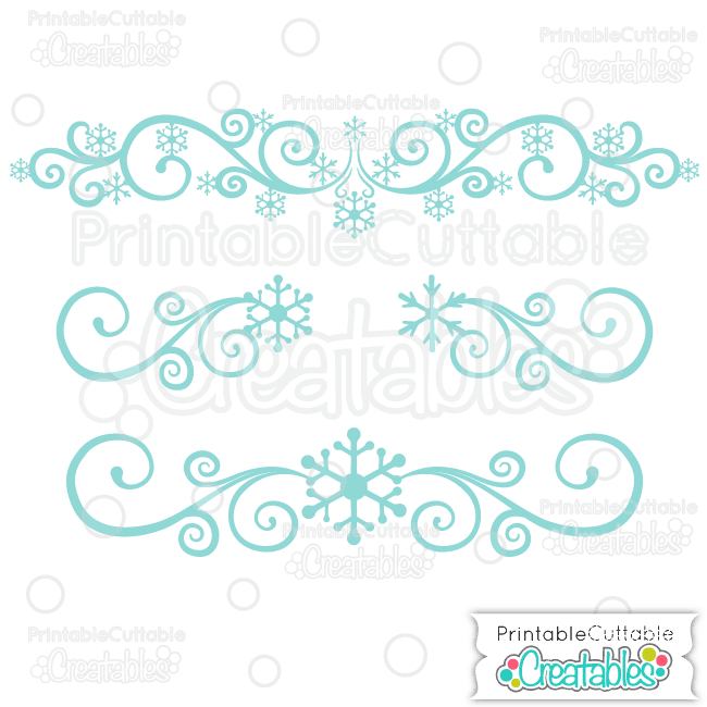 Snowflake Flourishes SVG Cut Files & Clipart.