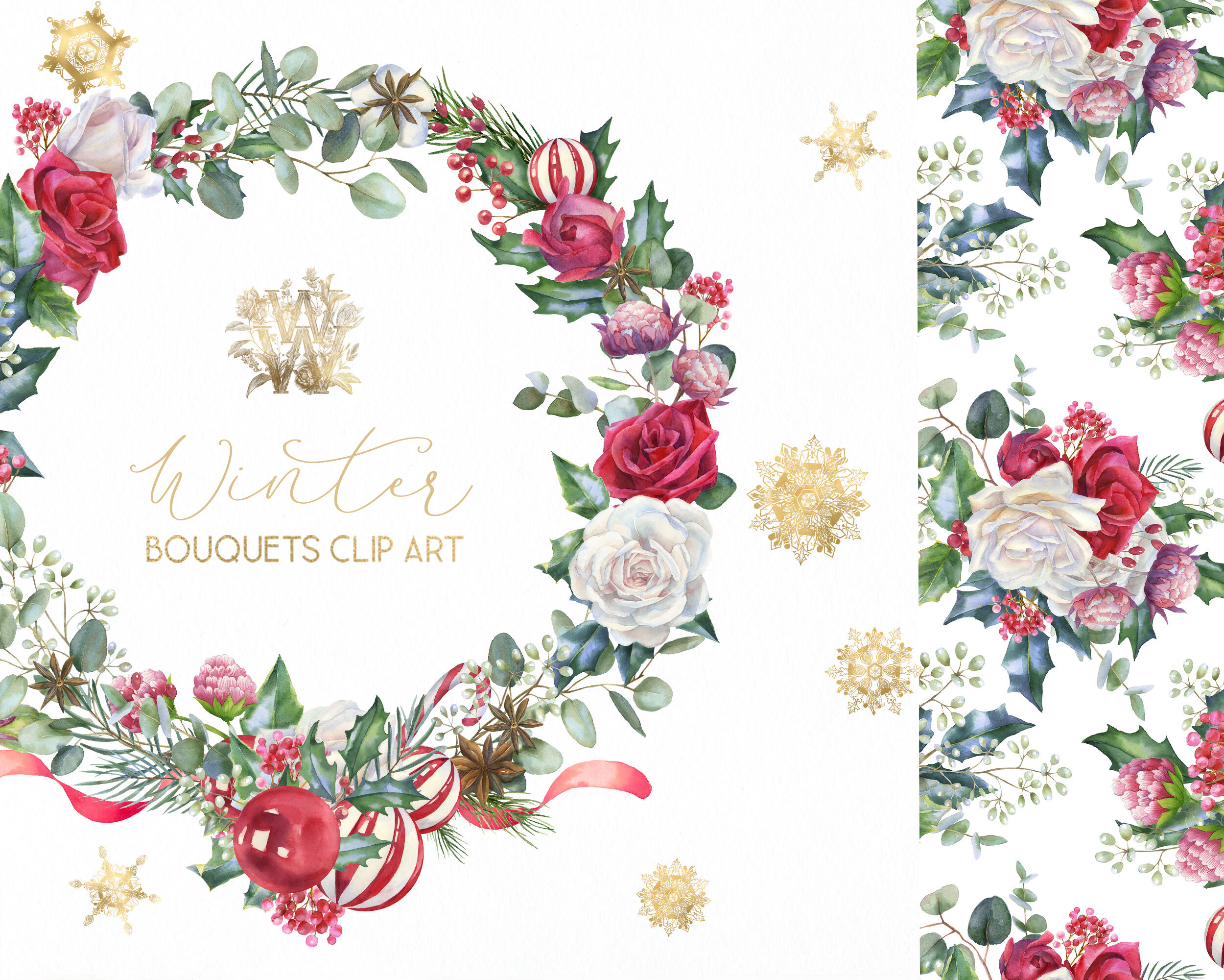 Christmas floral border clipart, Watercolor winter frame.