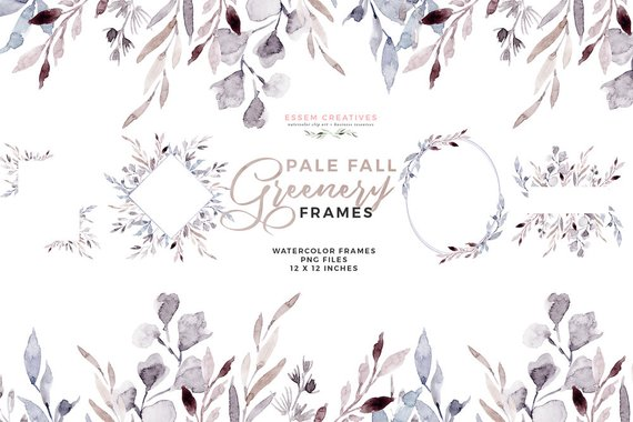 Floral Watercolor Clipart, Leaves Frames Clipart, Frost Fall.