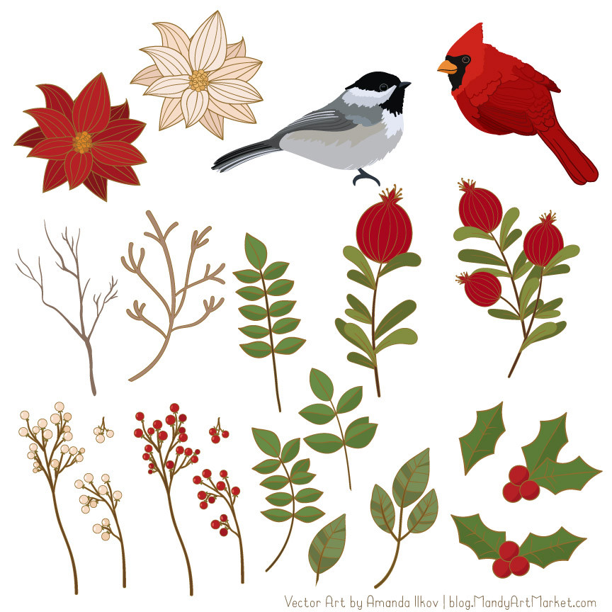 Tranquil Winter Flowers & Songbirds Clipart in Christmas.