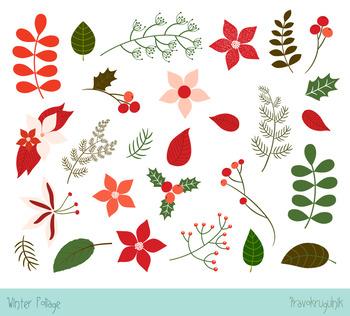 Christmas foliage clip art, Winter foliage clip art, Poinsettia flower,  Floral.
