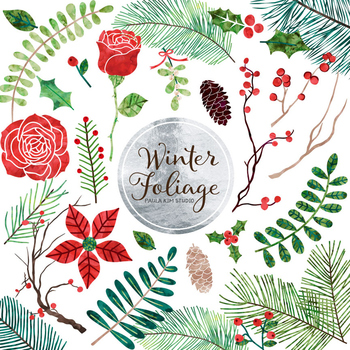 Winter Flower and Foliage Clip Art.