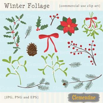 Winter foliage clip art images, mistletoe clip art, holly clip art.