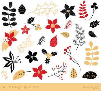 Christmas floral clipart, Winter foliage, Holiday flower, pine branch leaf  plant.