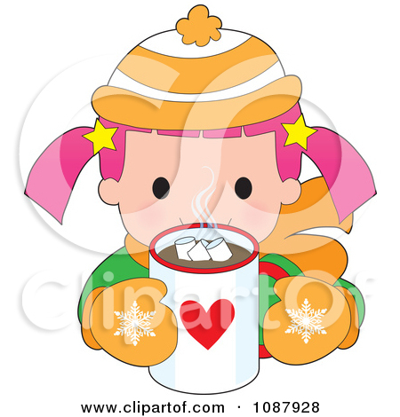 Clipart Winter Girl Drinking Hot Chocolate.