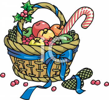 Royalty Free Clipart Image: Christmas Gift Basket with Winter.