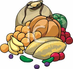 Clipart Picture of Winter Fruits and Vegetables.