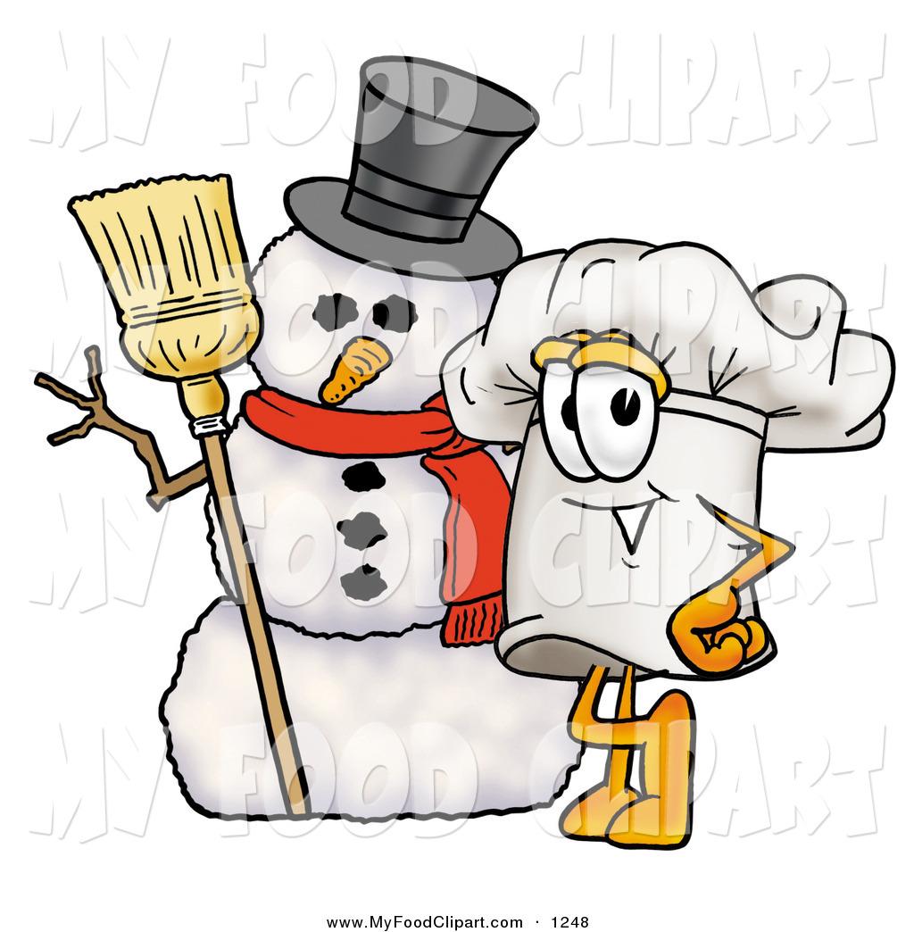 Food Clip Art of a Festive Happy Chefs Hat Mascot Cartoon.