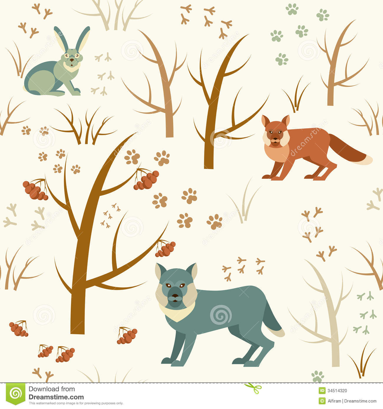 Cute Winter Animals Clipart Black And White.