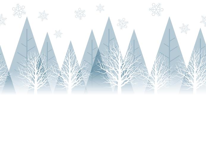 Seamless winter forest background with text space, vector.